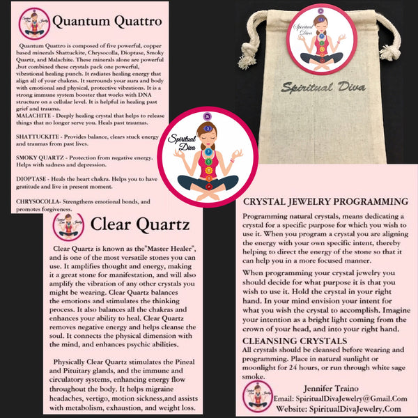 Quantum Quattro Energy Healing Crystal Reiki gemstone description cards gift bag - Spiritual Diva