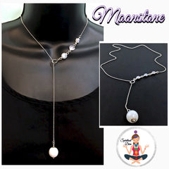 Moonstone Healing Crystal Reiki Sterling Silver Lariat Y Necklace - Spiritual Diva Jewelry