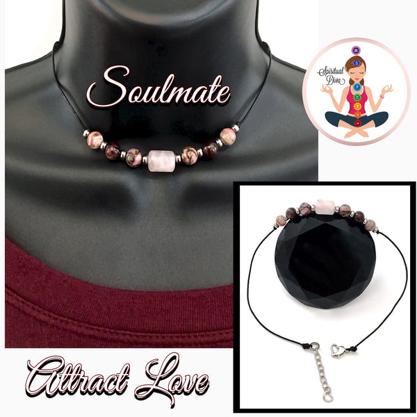 Soulmate Healing Crystal Reiki Gemstone Leather Choker Love Necklace - Spiritual Diva Jewelry