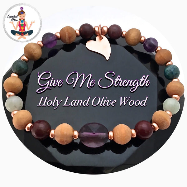 STRENGTH Grief Depression Healing Crystal Reiki Olive Wood Bracelet