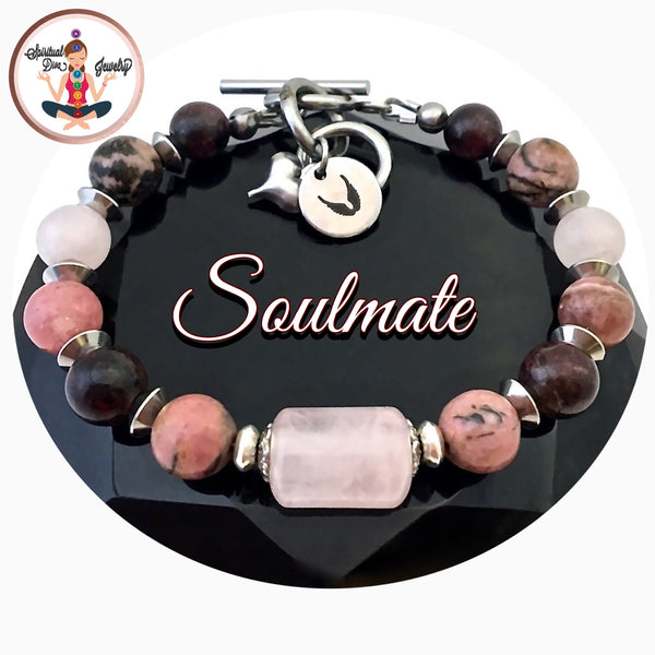 SOULMATE Attract Love Healing Crystal Reiki Angel Toggle Bracelet - Spiritual Diva Jewelry