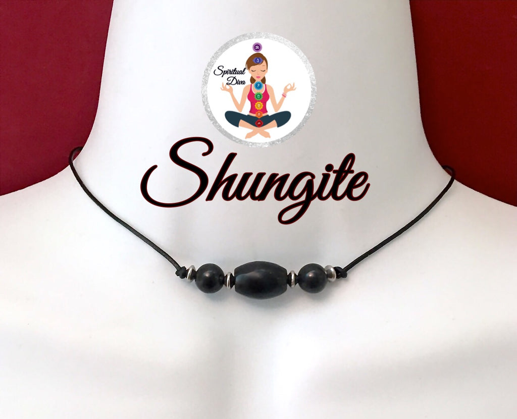Shungite Energy Healing Crystal Reiki Leather Choker Necklace Pendant - Spiritual Diva Jewelry