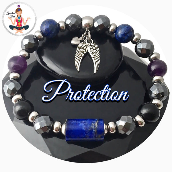 PROTECTION Energy Healing Crystal Gemstone Reiki Angel Bracelet - Spiritual Diva Jewelry