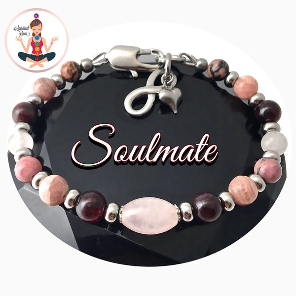 Soulmate Attract Love Healing Crystal Reiki Adjustable Gemstone Infinity Charm Bracelet - Spiritual Diva Jewelry