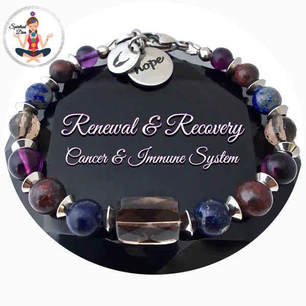 Cancer Immune System Recovery Energy Healing Crystal Reiki Angel Gemstone Bracelet - Spiritual Diva Jewelry