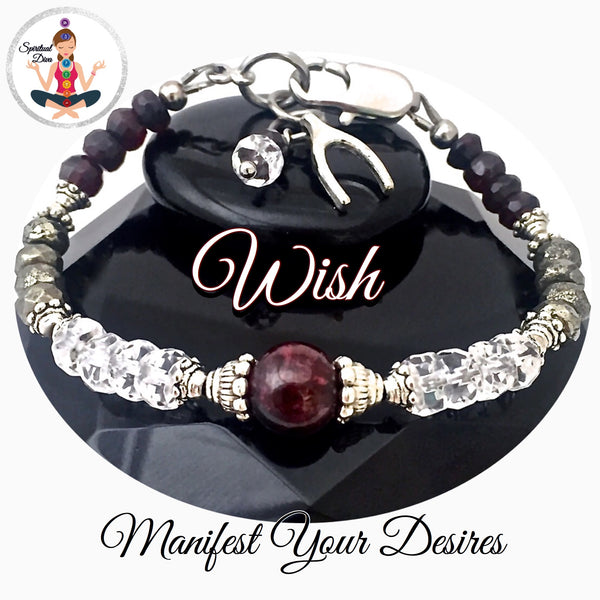 WISH, Manifestation, Healing Crystal, Reiki Adjustable Clasp Bracelet - Spiritual Diva Jewelry