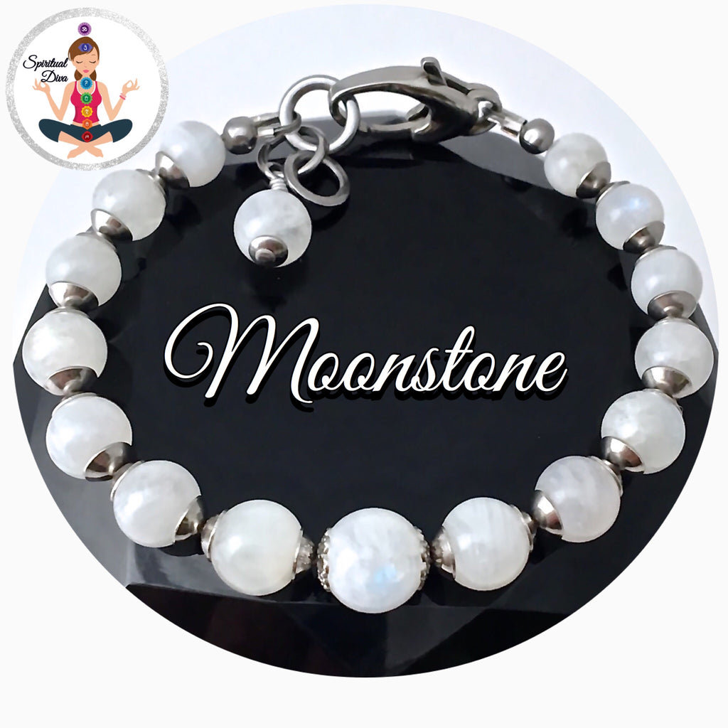 Moonstone Energy Healing Crystal Reiki Adjustable Gemstone Bracelet - Spiritual Diva Jewelry