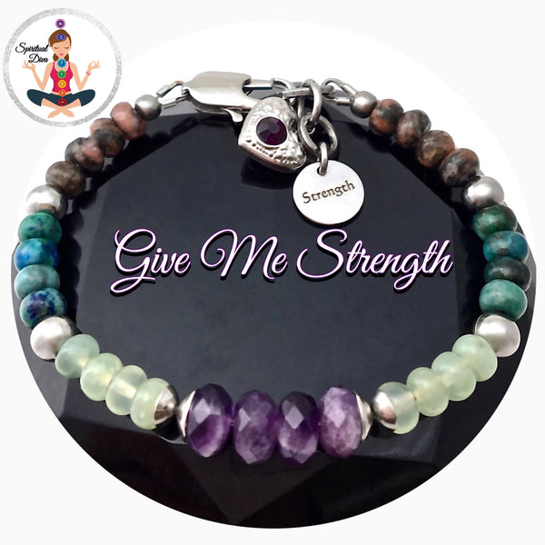STRENGTH Grief Depression Healing Crystal Reiki Gemstone Bracelet - Spiritual Diva Jewelry