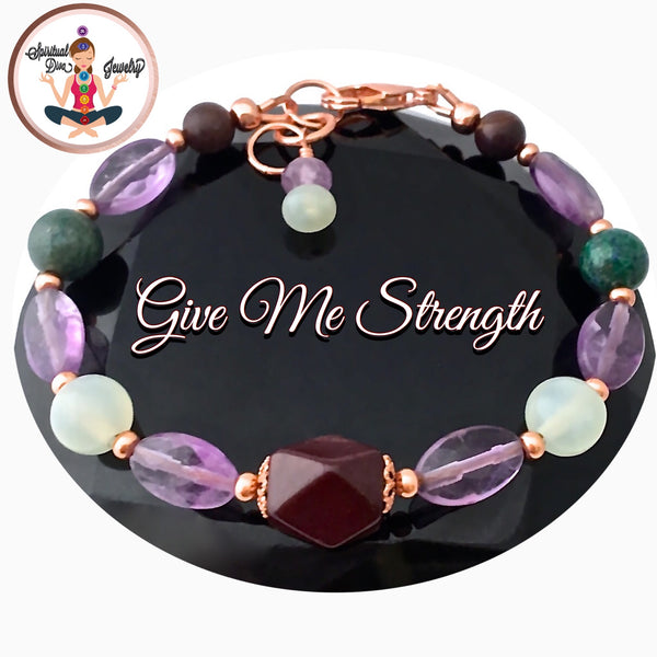 Strength Grief Depression Healing Crystal Copper Reiki Clasp Bracelet - Spiritual Diva Jewelry