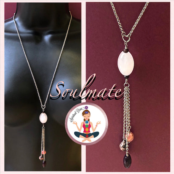 Soulmate Energy Healing Crystal Reiki Gemstone Tassel Love Necklace - Spiritual diva Jewelry