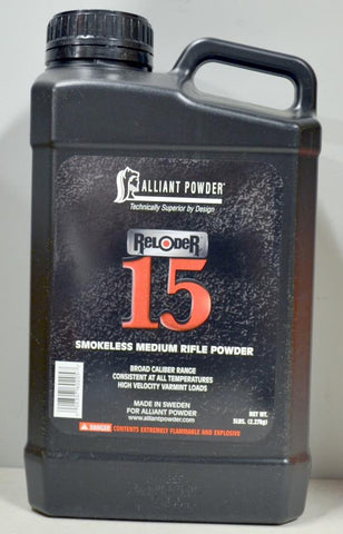 Alliant Powder - Reloder 15 Smokeless Powder, 5lbs.  TSE # 23128.
