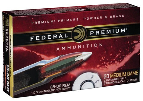 Federal Ammunition 25-06 Rem 110gr Nosler Accubond 20/Box Medium Game TSE#24722 The Shooting Edge Calgary Alberta