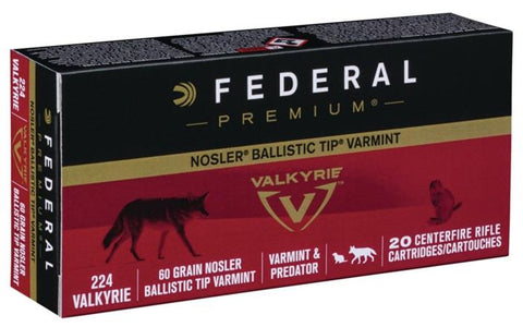 Federal Ammunition 224 Valkyrie 60gr Nosler Ballistic Tip Varmint 20/Box TSE#24726 The Shooting Edge Calgary Alberta