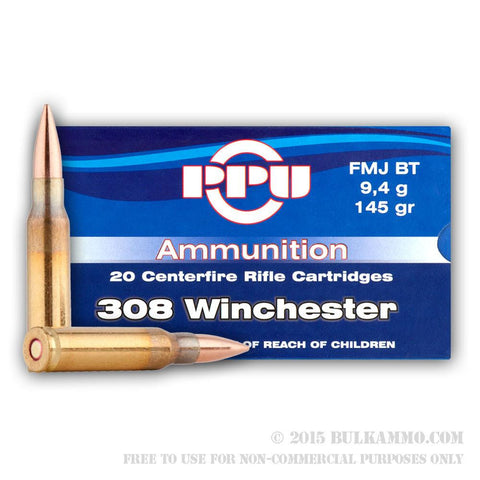 PPU 308 Win 145gr - 20 Rounds Box