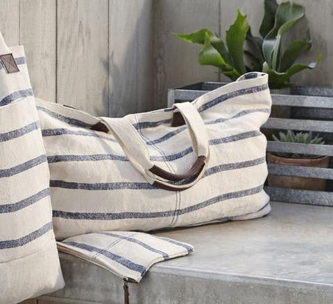 Striped Linen Weekend Tote