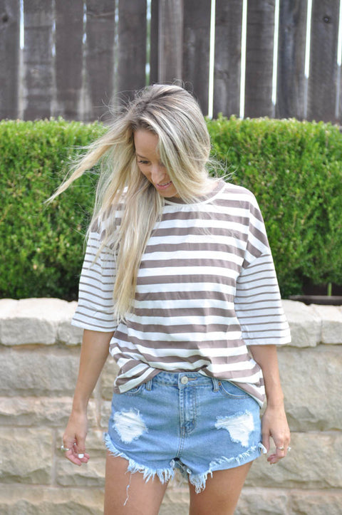 Brooklyn Striped Top - Mocha
