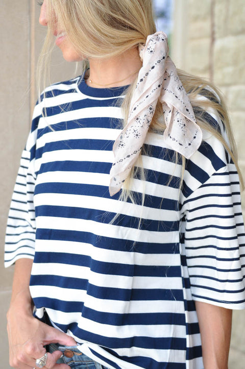 Brooklyn Striped Top - Navy