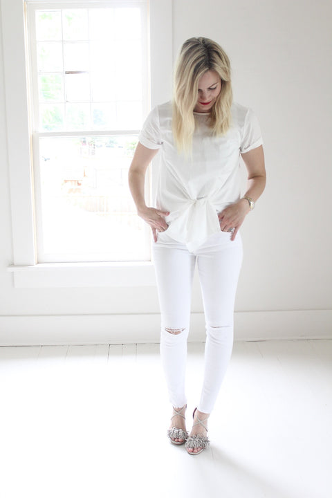 Distressed Denim Skinny Jeans - White - Seven Oaks