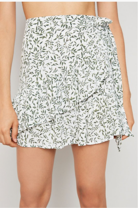 Floral Wrap Skirt - Ivory