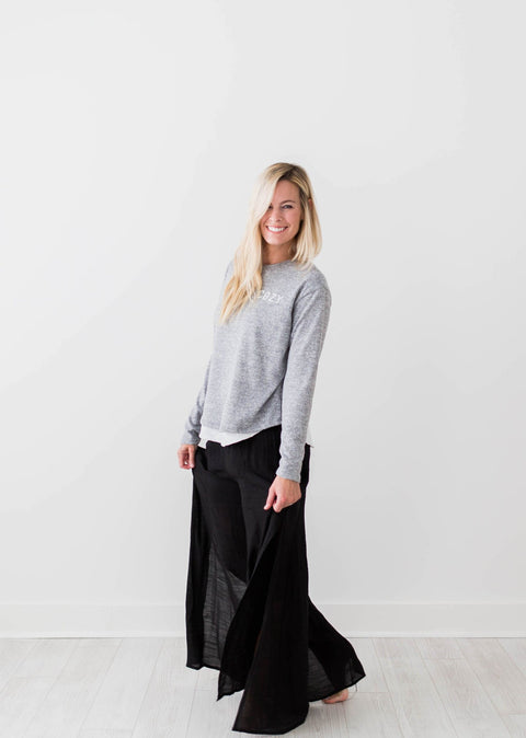Whitney Wide Leg Pants - Black - Seven Oaks