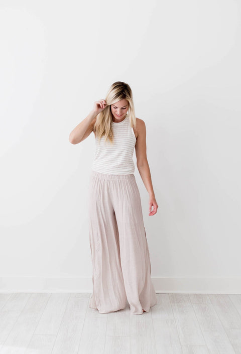 Whitney Wide Leg Pants - Champagne - Seven Oaks