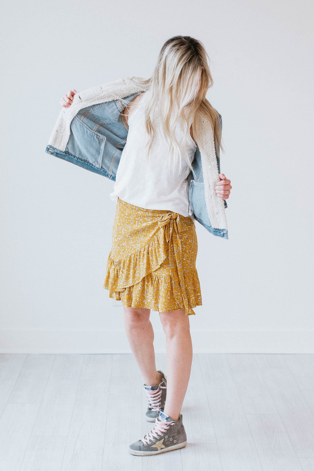 Floral Wrap Skirt - Yellow