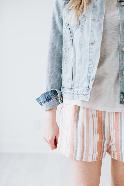 Striped Pull-on Shorts - Peach