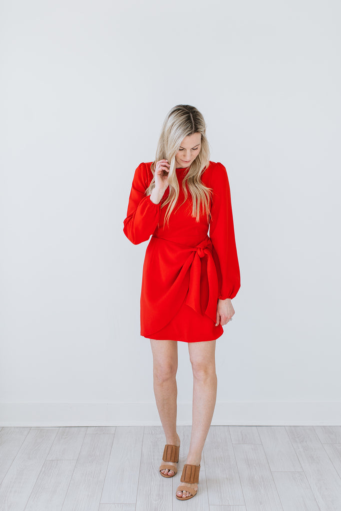 Wrap Tie Dress - Red