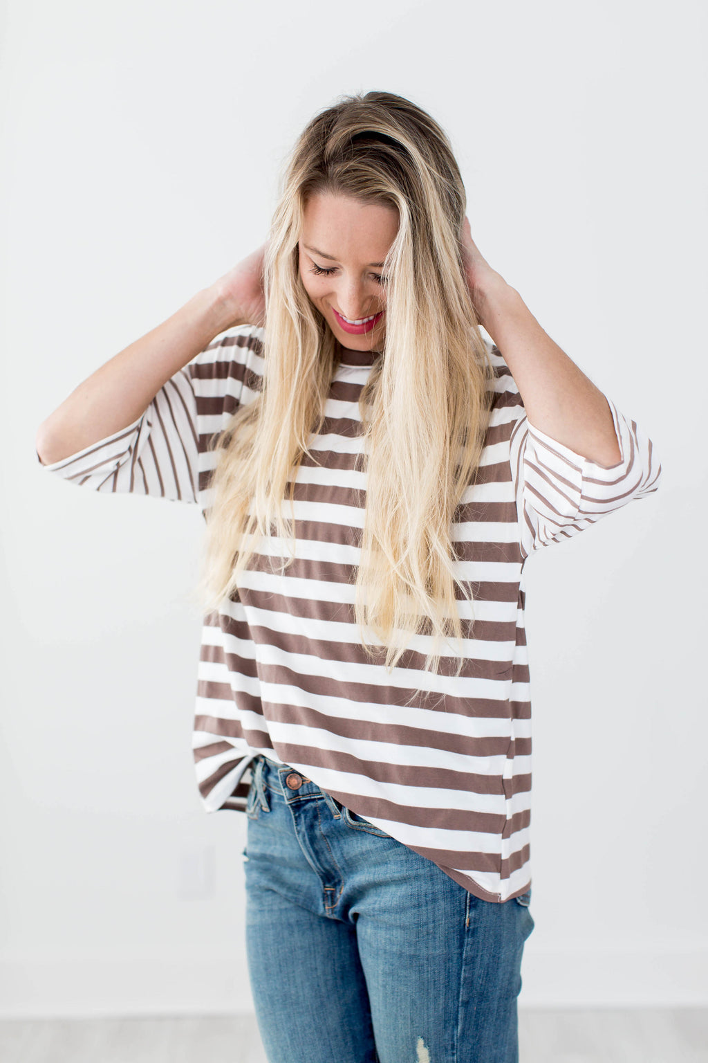 Brooklyn Striped Top - Mocha - Seven Oaks
