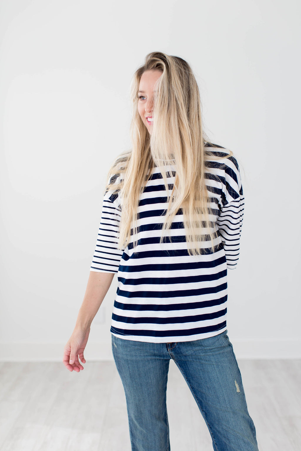 Brooklyn Striped Top - Navy - Seven Oaks