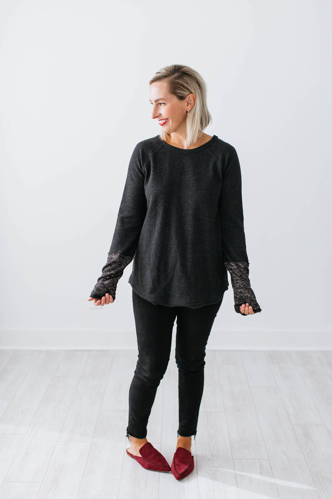 Sweetest Thing Pullover Sweater - Charcoal - Seven Oaks