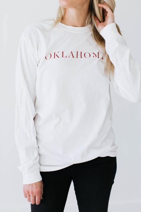 Long Sleeve Oklahoma Tee - White - Seven Oaks