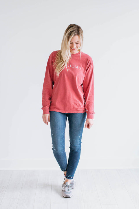 Long Sleeve Oklahoma Tee - Crimson