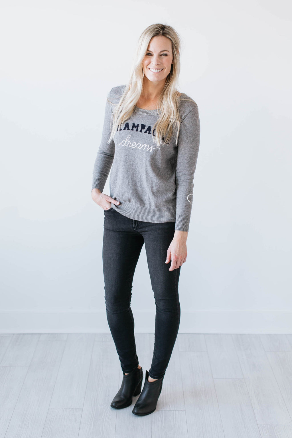 Champagne Dreams Pullover - Grey - Seven Oaks