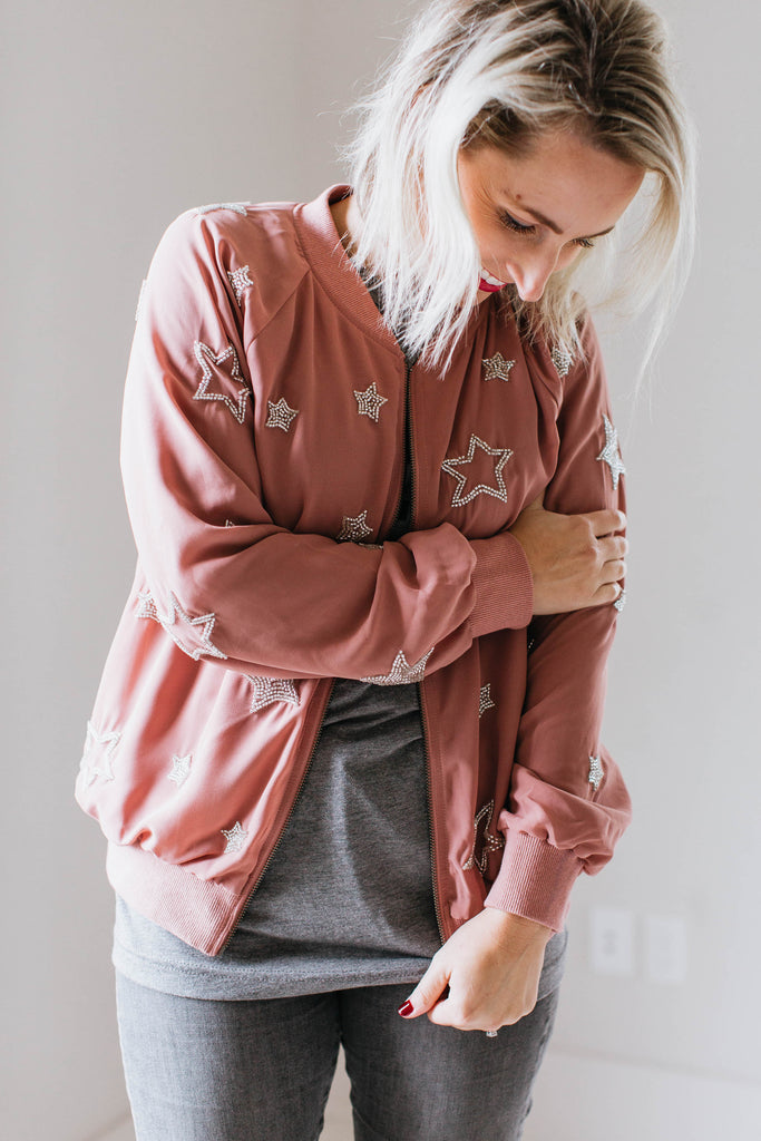 Beaded Star Bomber Jacket - Seven Oaks