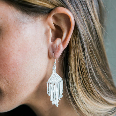 White Gypsy Earrings