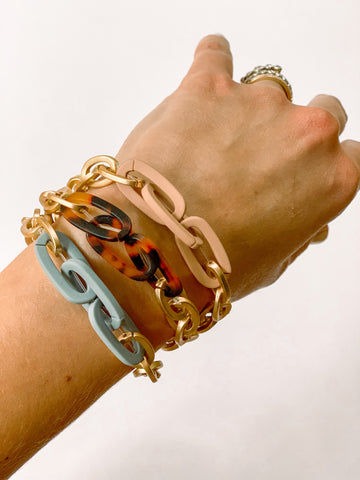Matte Gold Link Stretch Bracelets