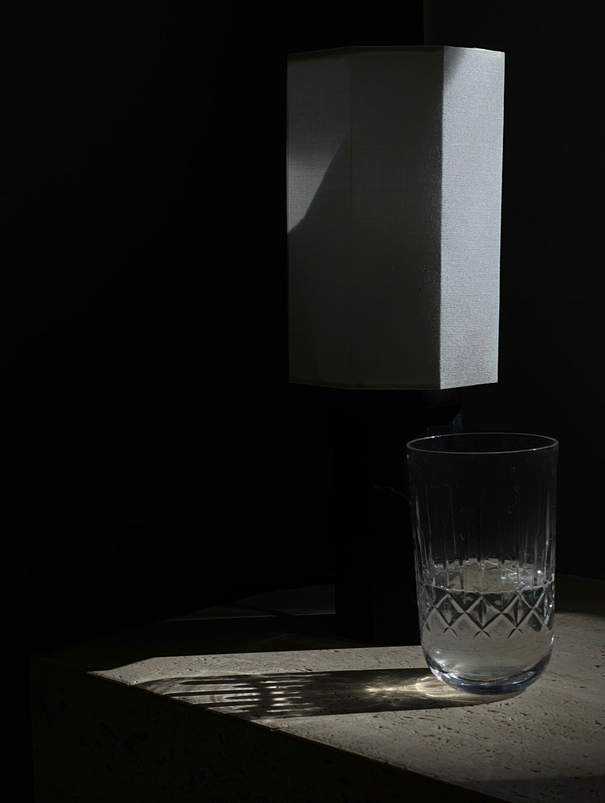 Crystal glass and marble lamp