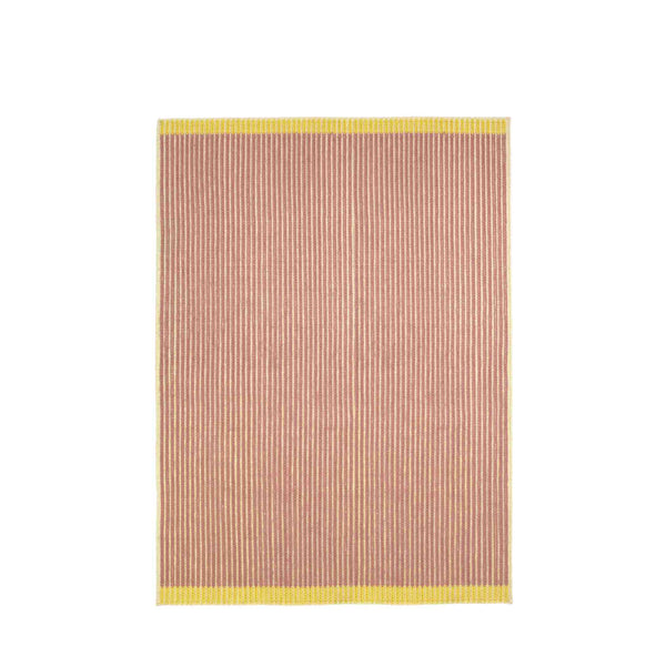 Handwoven Loop rug in white, rose and yellow made of 100% Wool