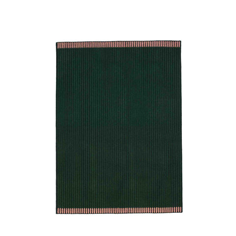 Handwoven Loop rug in green, green and rose made of 100% Wool