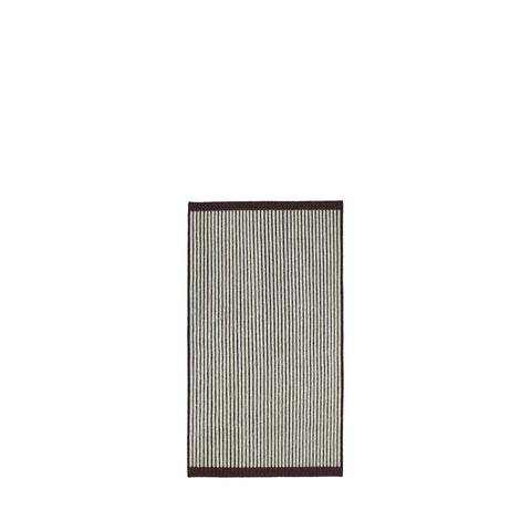 Handwoven Loop rug in black, ecru and bordeaux made of 100% Wool