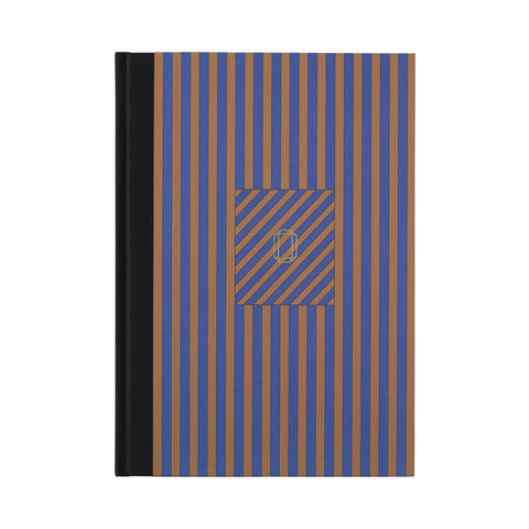 Note Book Stripes blue/brass brown