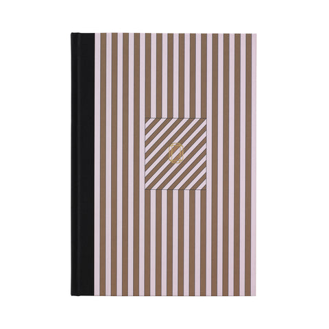 Note Book Stripes rose/brass brown