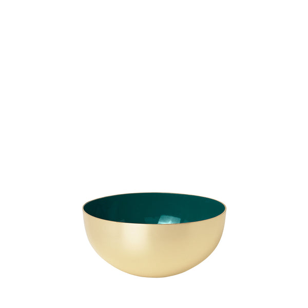 Metal bowl 100% brass with green enamel.