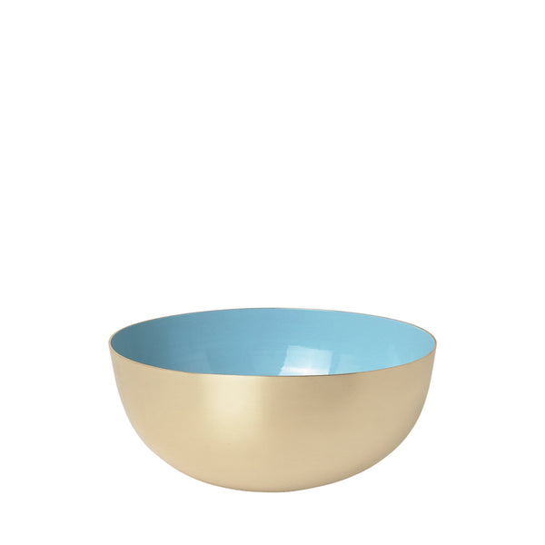 Metal bowl in 100% brass with porcelain blue enamel.