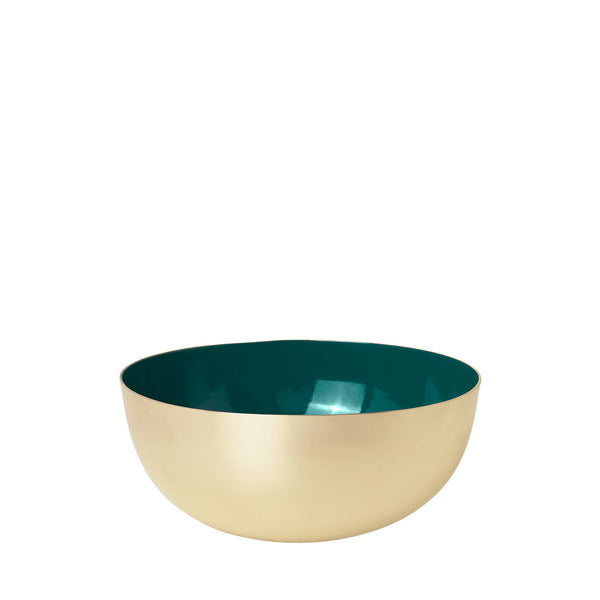 Metal bowl brass/jade green enamel