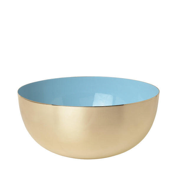 Metal bowl brass/porcelain blue enamel