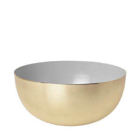 Metal bowl in 100% brass with grey enamel.