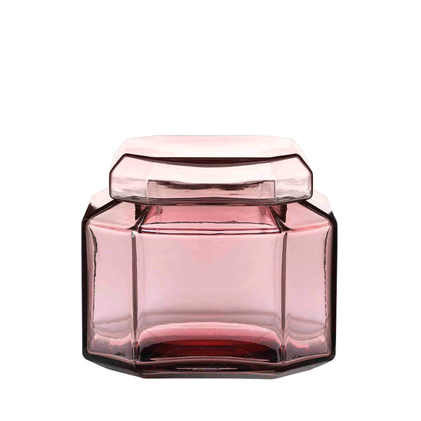 Packshot of mouth blown glass container in the color burgundy.