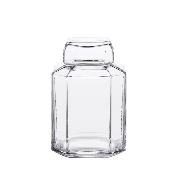 Packshot of mouth blown glass container in clear.